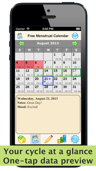 Free Menstrual Calendar - Period Tracker and Ovulation ...